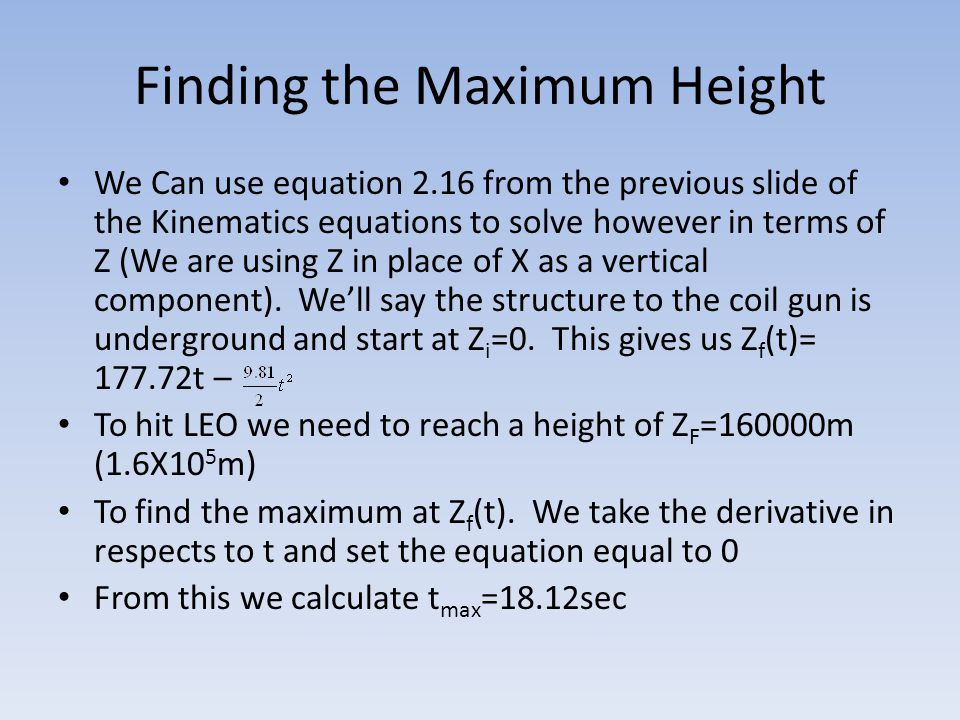 Finding the Maximum Height