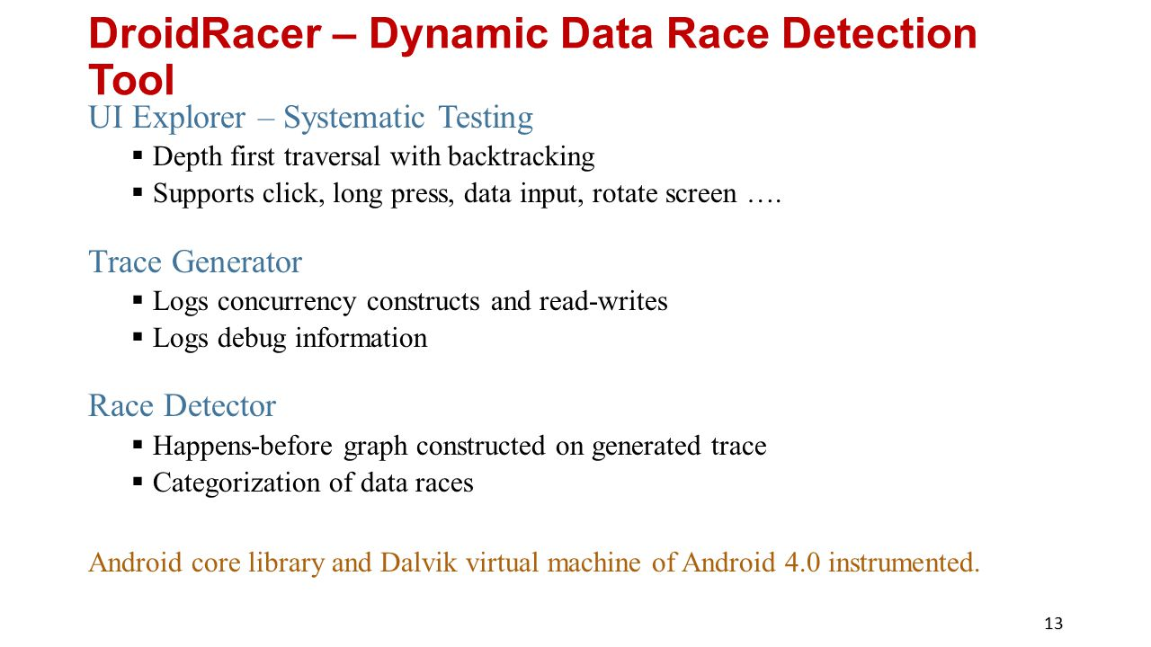 DroidRacer – Dynamic Data Race Detection Tool