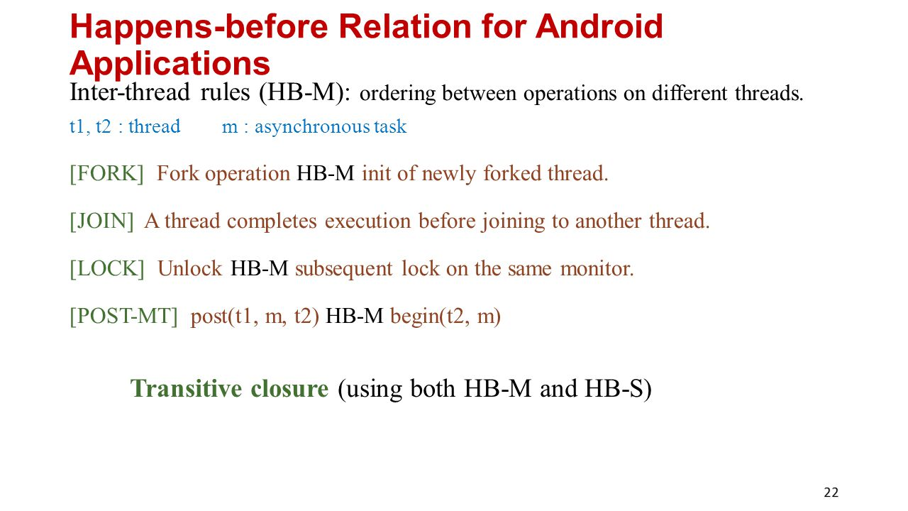 Happens-before Relation for Android Applications