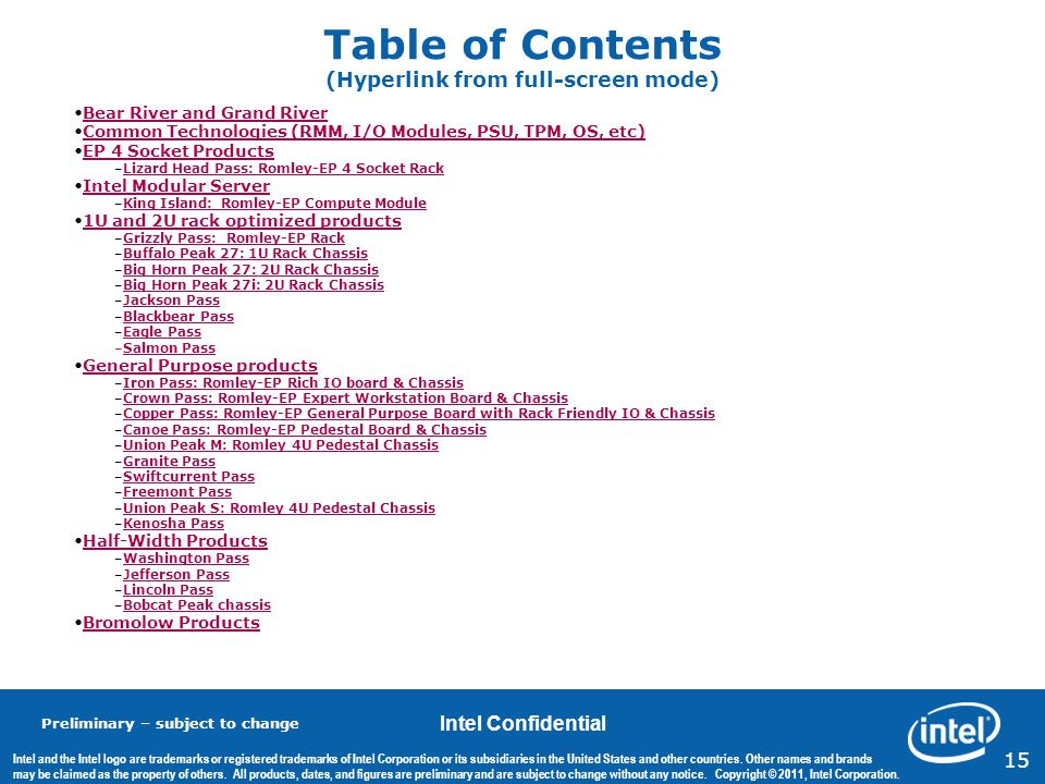Table of Contents (Hyperlink from full-screen mode)