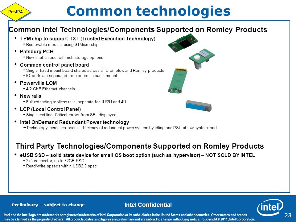 Common technologies Pre-IPA. Common Intel Technologies/Components Supported on Romley Products.