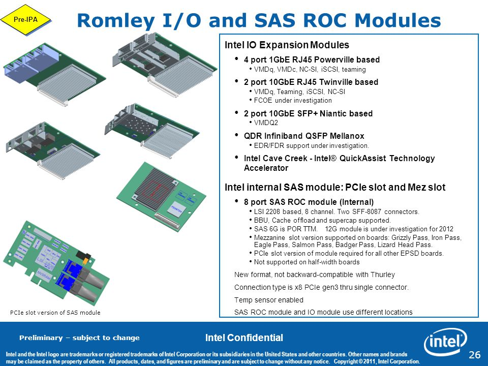 Romley I/O and SAS ROC Modules