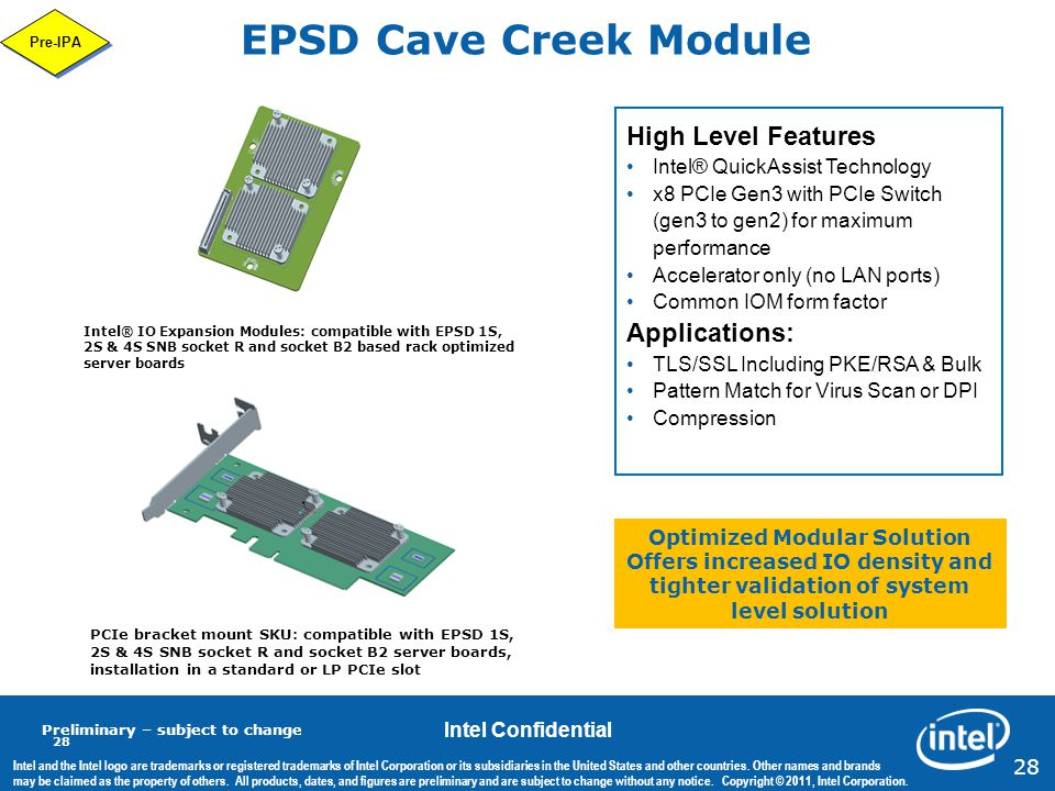 EPSD Cave Creek Module High Level Features Applications: