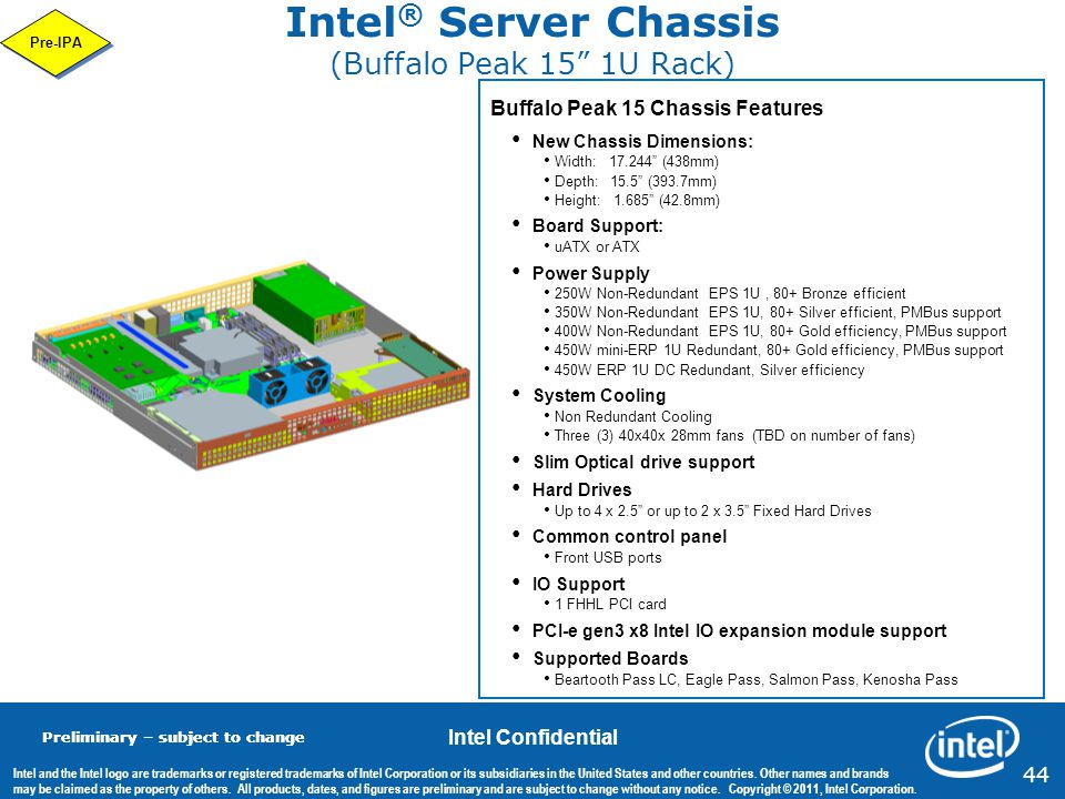 Intel® Server Chassis (Buffalo Peak 15 1U Rack)