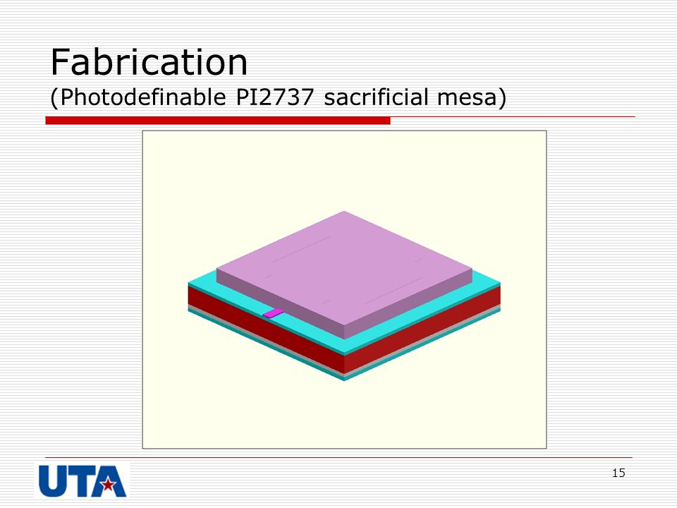 Fabrication (Photodefinable PI2737 sacrificial mesa)