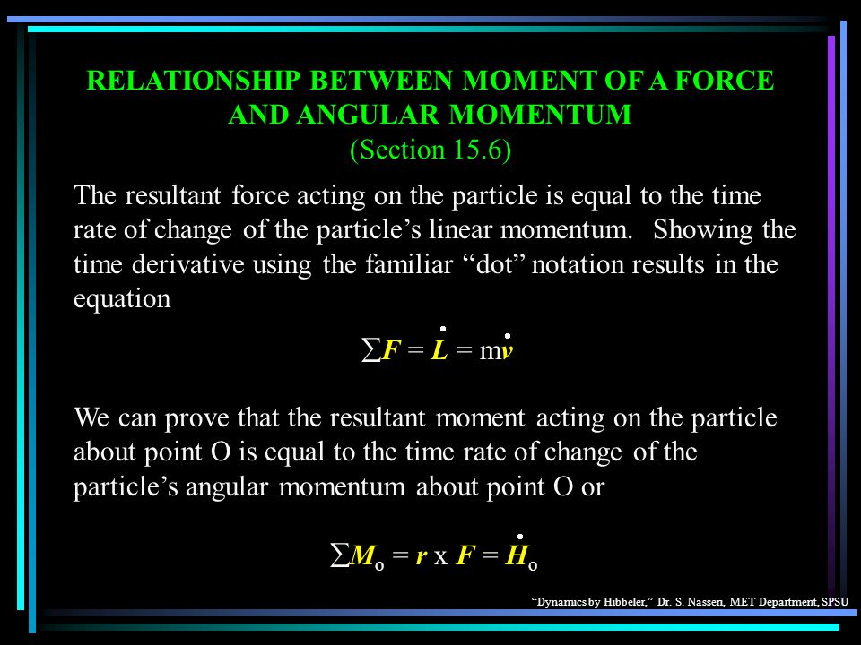 RELATIONSHIP BETWEEN MOMENT OF A FORCE AND ANGULAR MOMENTUM