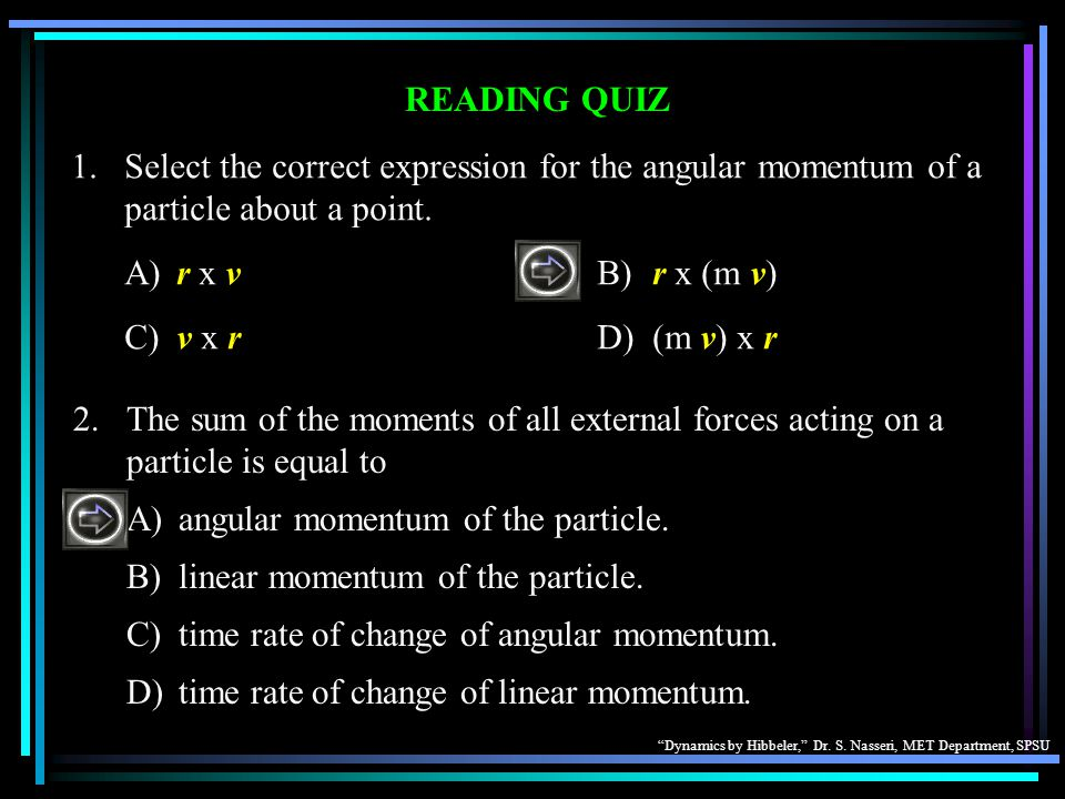 A) angular momentum of the particle.