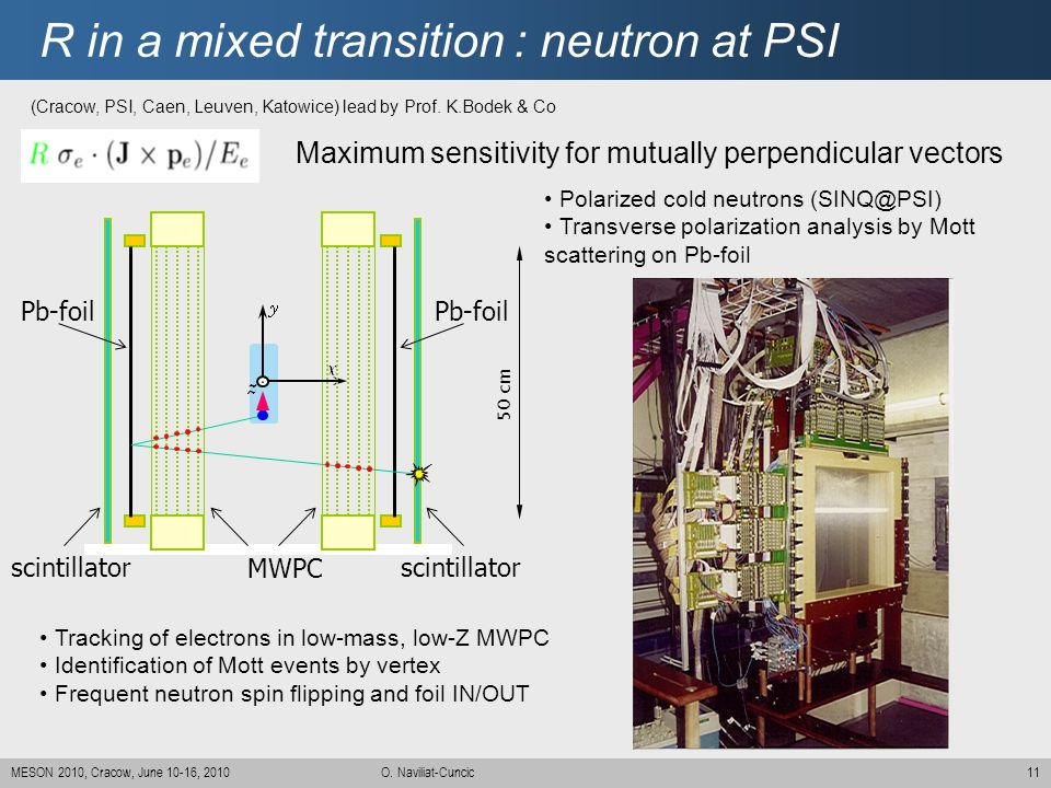 R in a mixed transition : neutron at PSI