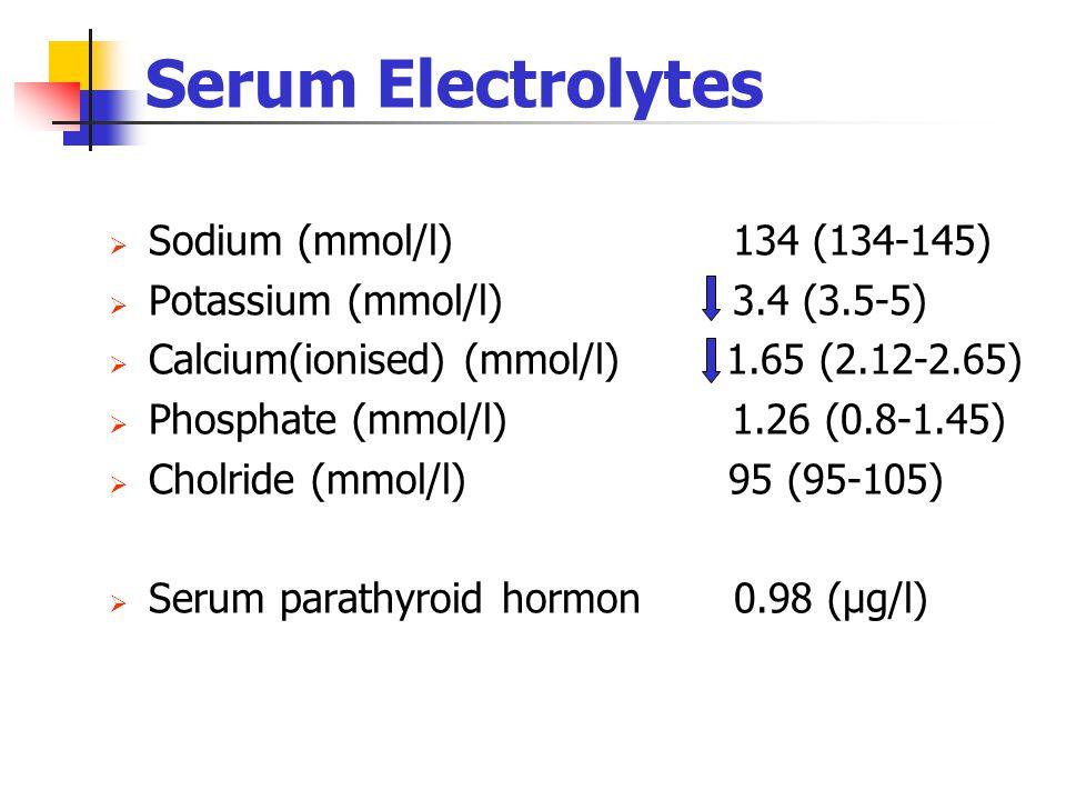 Serum Electrolytes Sodium (mmol/l) 134 (134-145)