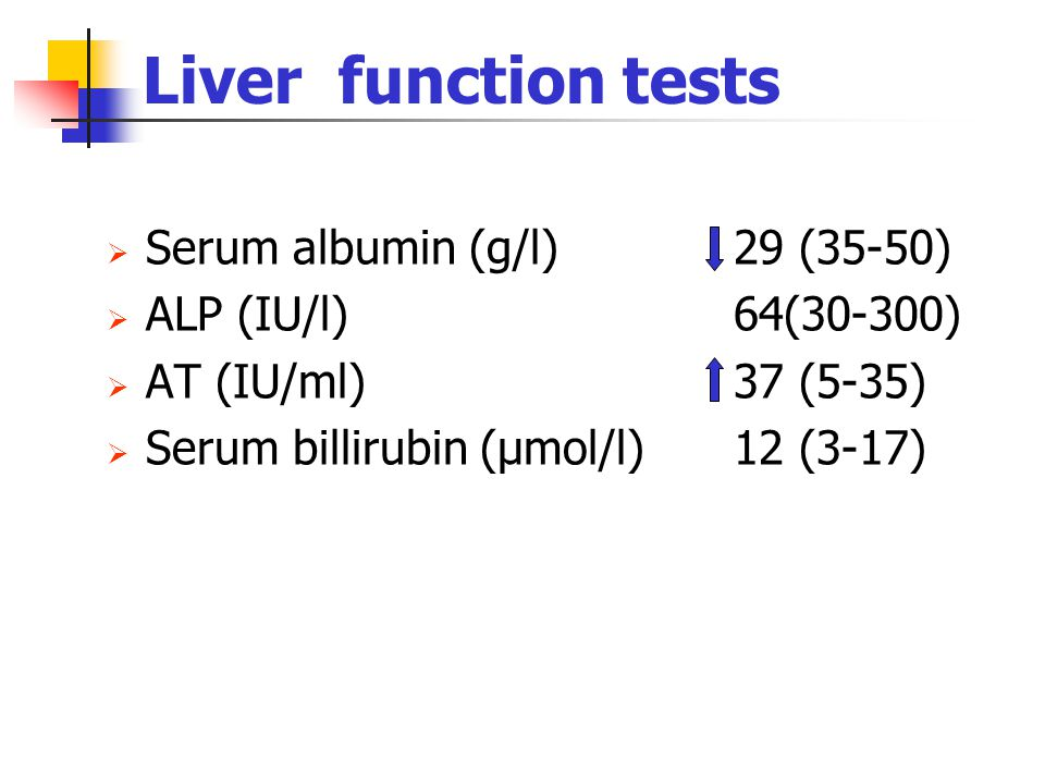 Liver function tests Serum albumin (g/l) 29 (35-50)