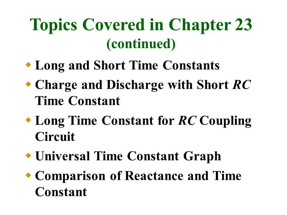 Topics Covered in Chapter 23