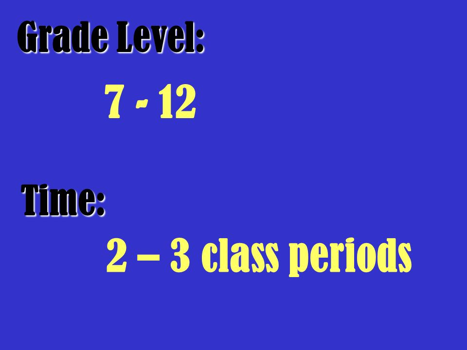 Grade Level: Time: 2 – 3 class periods