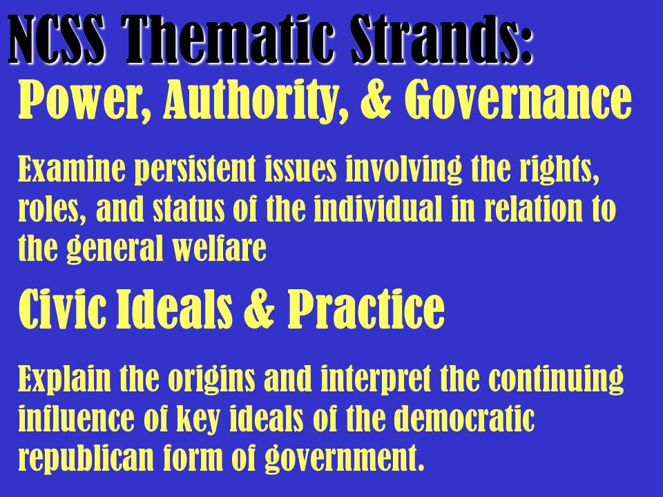 NCSS Thematic Strands: