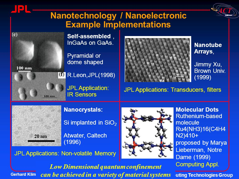 Nanotechnology / Nanoelectronic Example Implementations