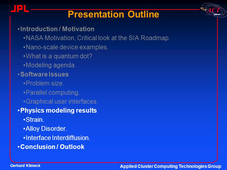 Presentation Outline Introduction / Motivation