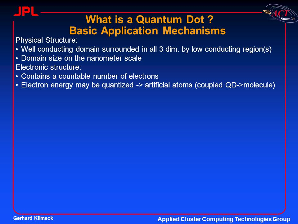 What is a Quantum Dot Basic Application Mechanisms