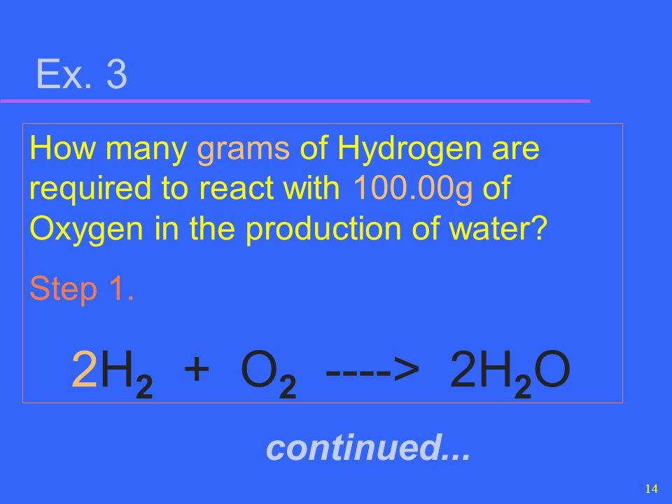 2H2 + O2 ----> 2H2O Ex. 3 continued...