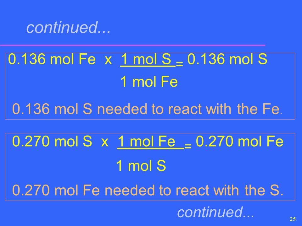 continued... 0.136 mol Fe x 1 mol S = 0.136 mol S 1 mol Fe