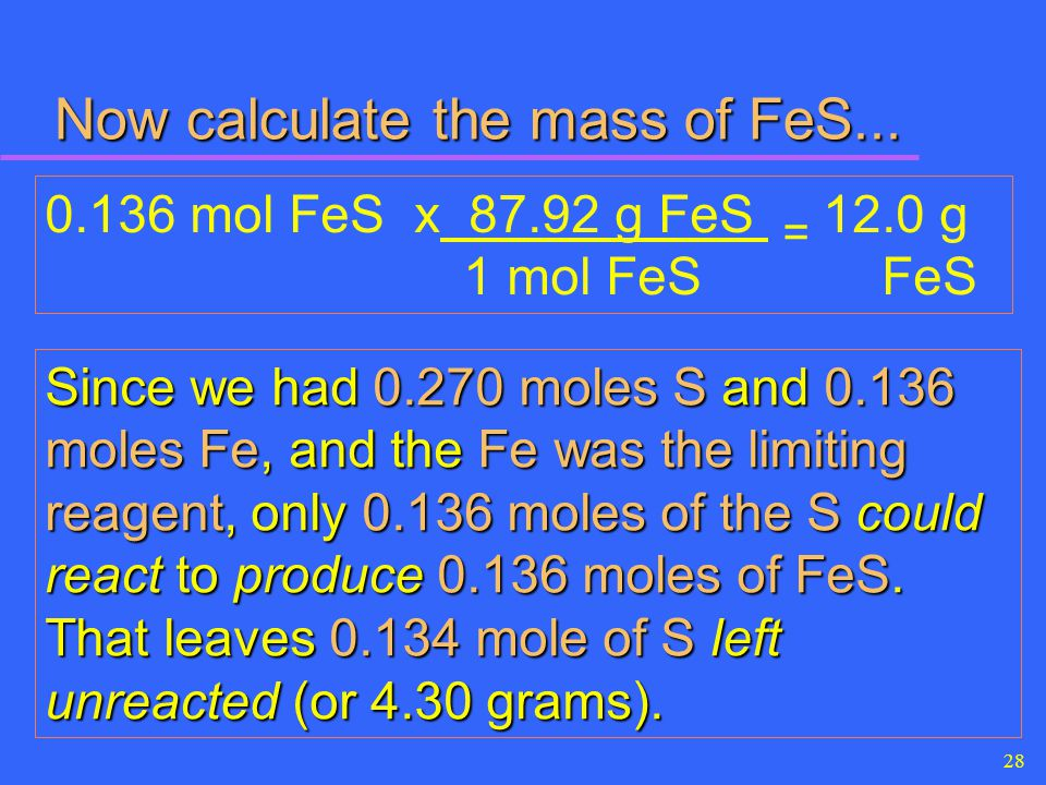 Now calculate the mass of FeS...