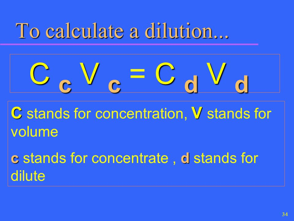 To calculate a dilution...