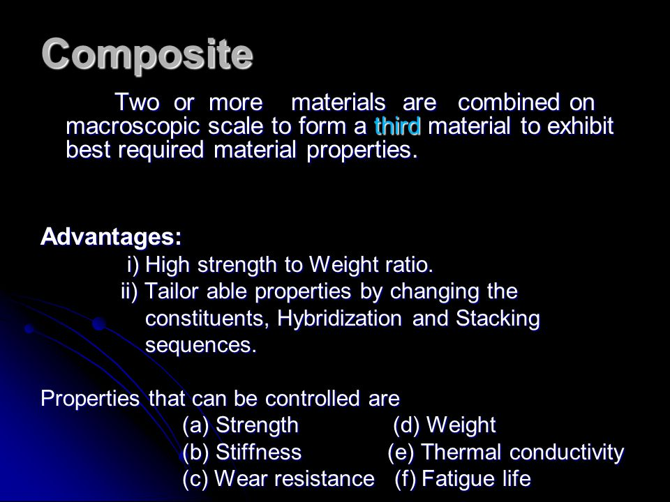 Composite Two or more materials are combined on macroscopic scale to form a third material to exhibit best required material properties.