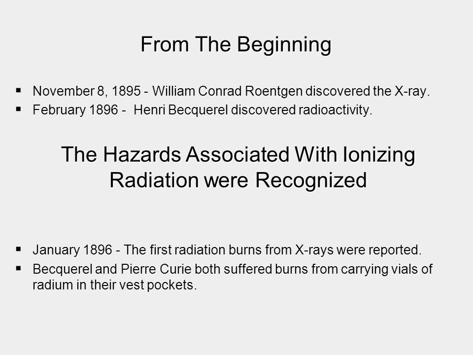 The Hazards Associated With Ionizing Radiation were Recognized