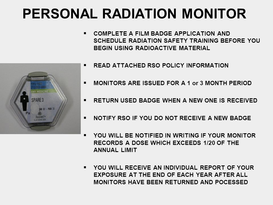 PERSONAL RADIATION MONITOR
