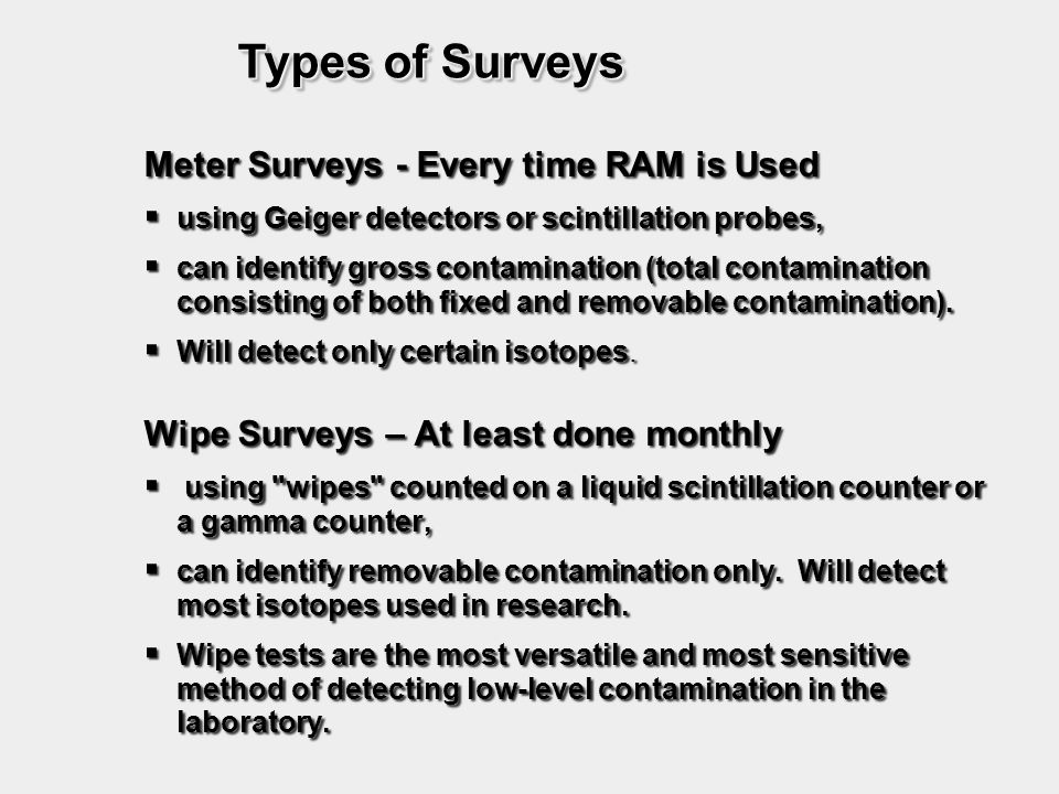 Types of Surveys Meter Surveys - Every time RAM is Used