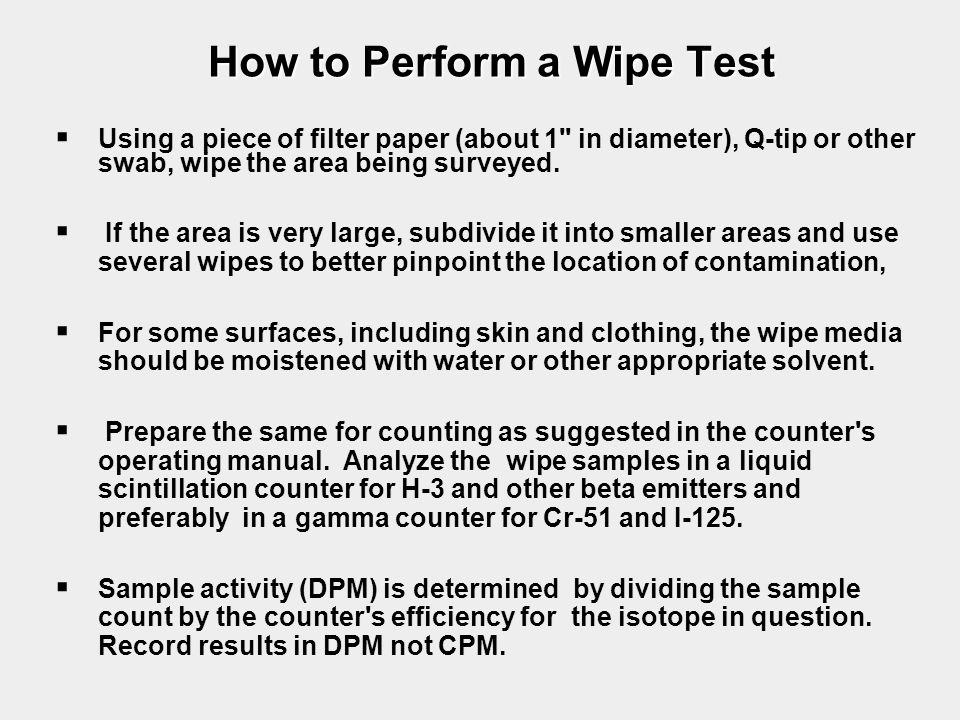 How to Perform a Wipe Test