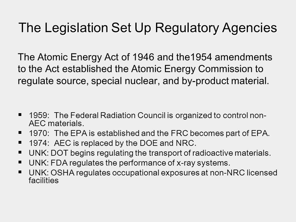 The Legislation Set Up Regulatory Agencies