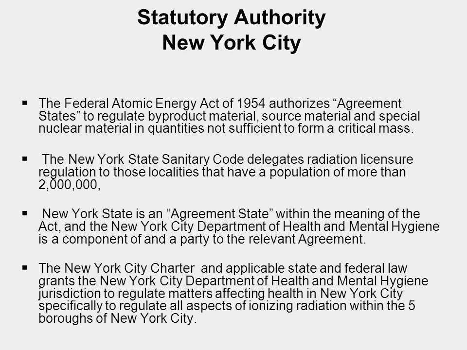 Statutory Authority New York City