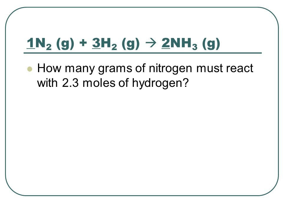 1N2 (g) + 3H2 (g)  2NH3 (g) How many grams of nitrogen must react with 2.3 moles of hydrogen