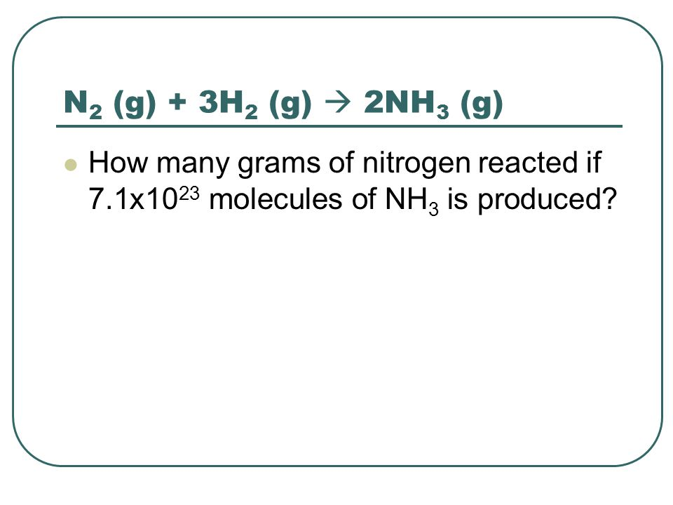 N2 (g) + 3H2 (g)  2NH3 (g) How many grams of nitrogen reacted if 7.1x1023 molecules of NH3 is produced