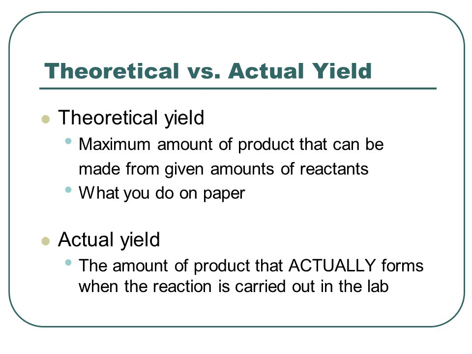 Theoretical vs. Actual Yield