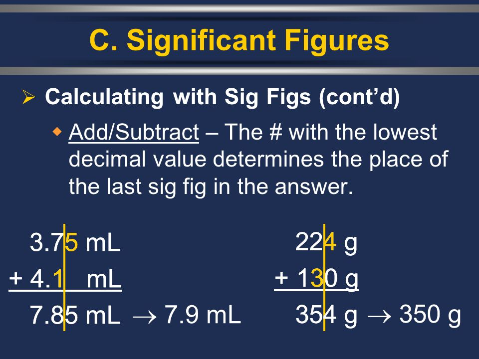 C. Significant Figures 3.75 mL + 4.1 mL 7.85 mL 3.75 mL + 4.1 mL