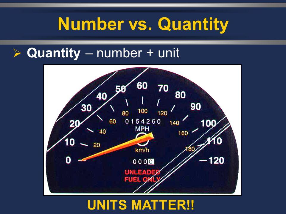 Number vs. Quantity Quantity – number + unit UNITS MATTER!!
