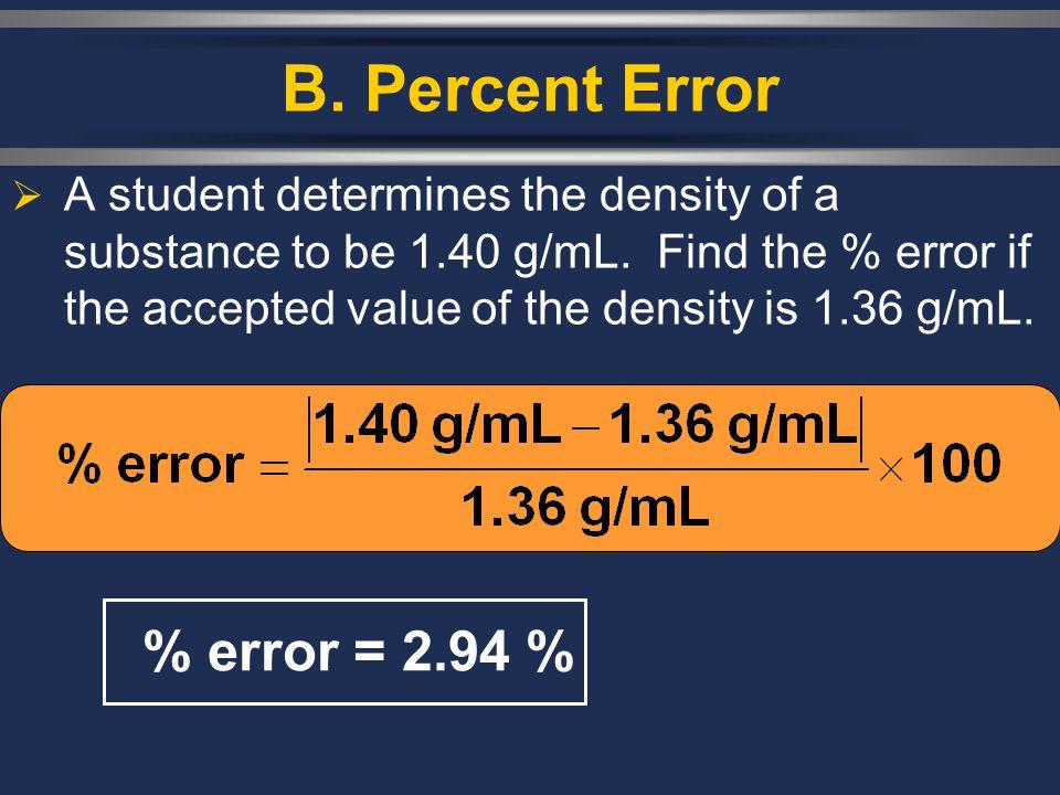 B. Percent Error % error = 2.94 %