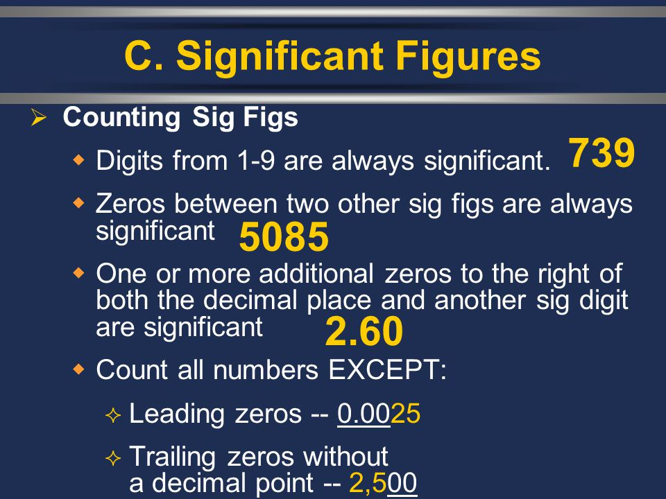 C. Significant Figures 739 5085 2.60 Counting Sig Figs