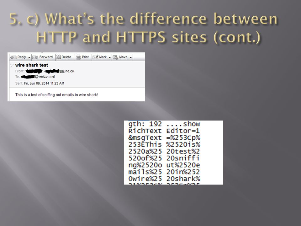 5. c) What's the difference between HTTP and HTTPS sites (cont.)