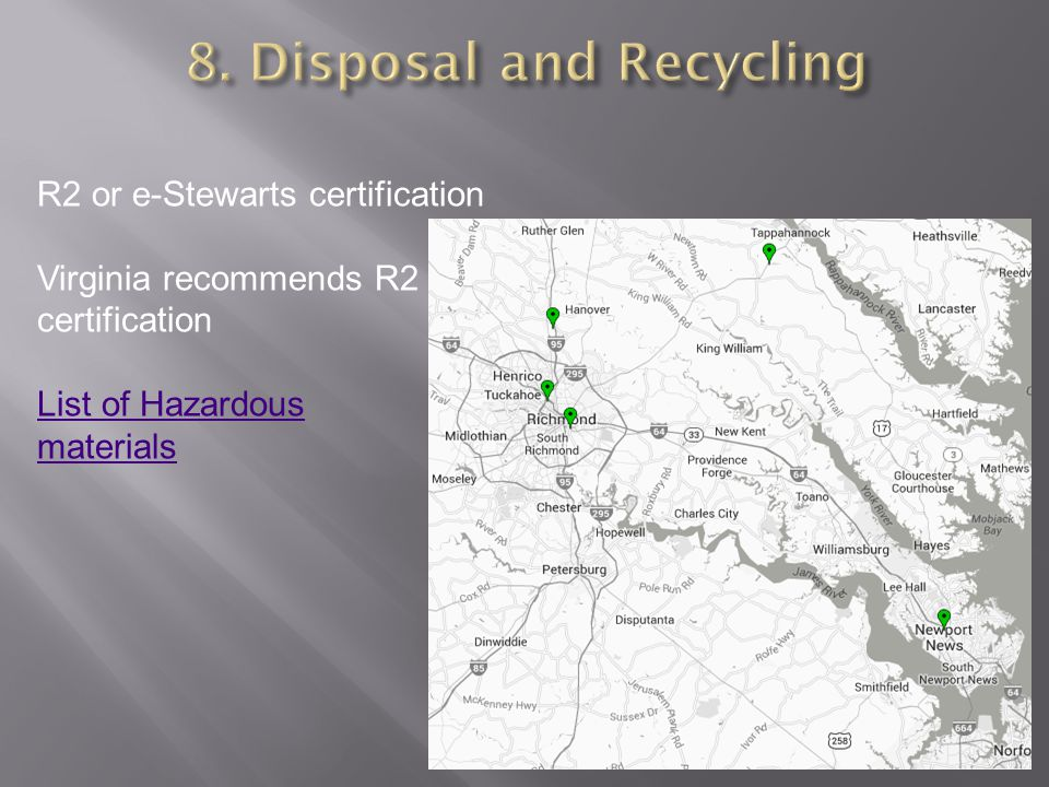 8. Disposal and Recycling