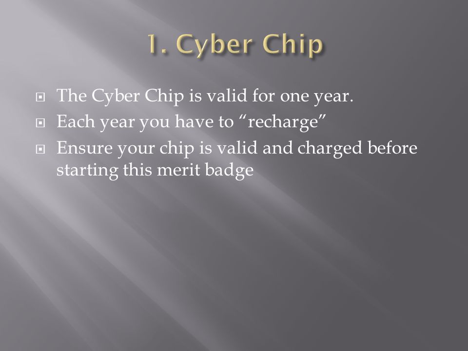 1. Cyber Chip The Cyber Chip is valid for one year.
