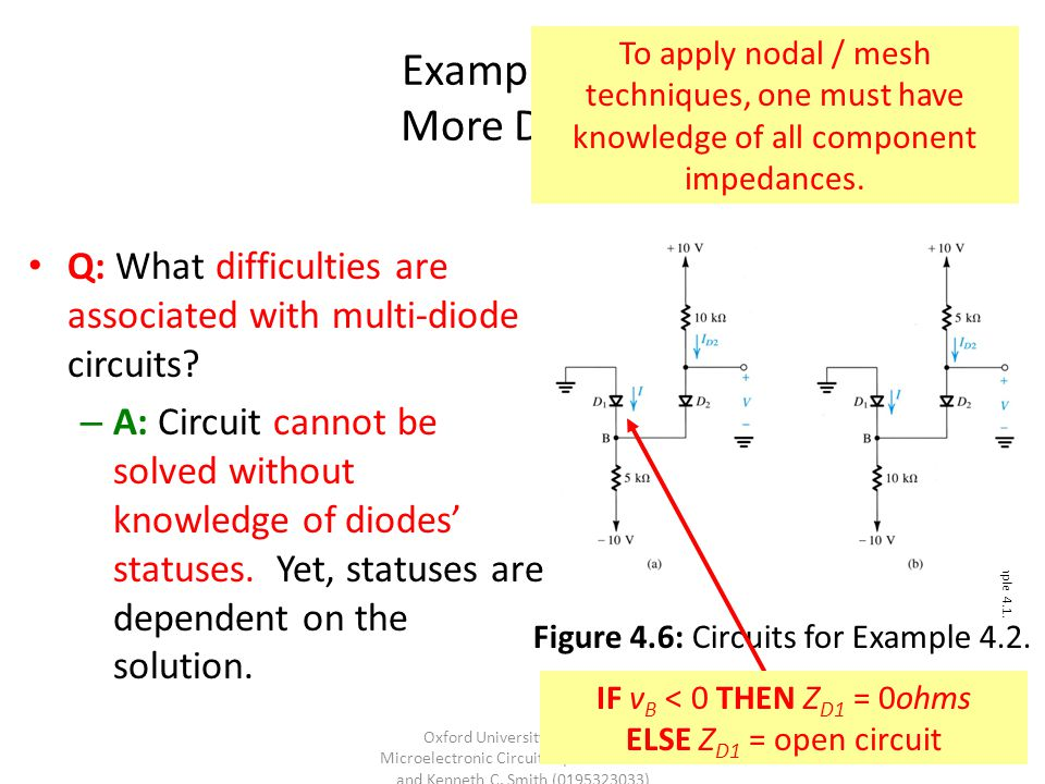 Example 4.2: More Diodes To apply nodal / mesh techniques, one must have knowledge of all component impedances.