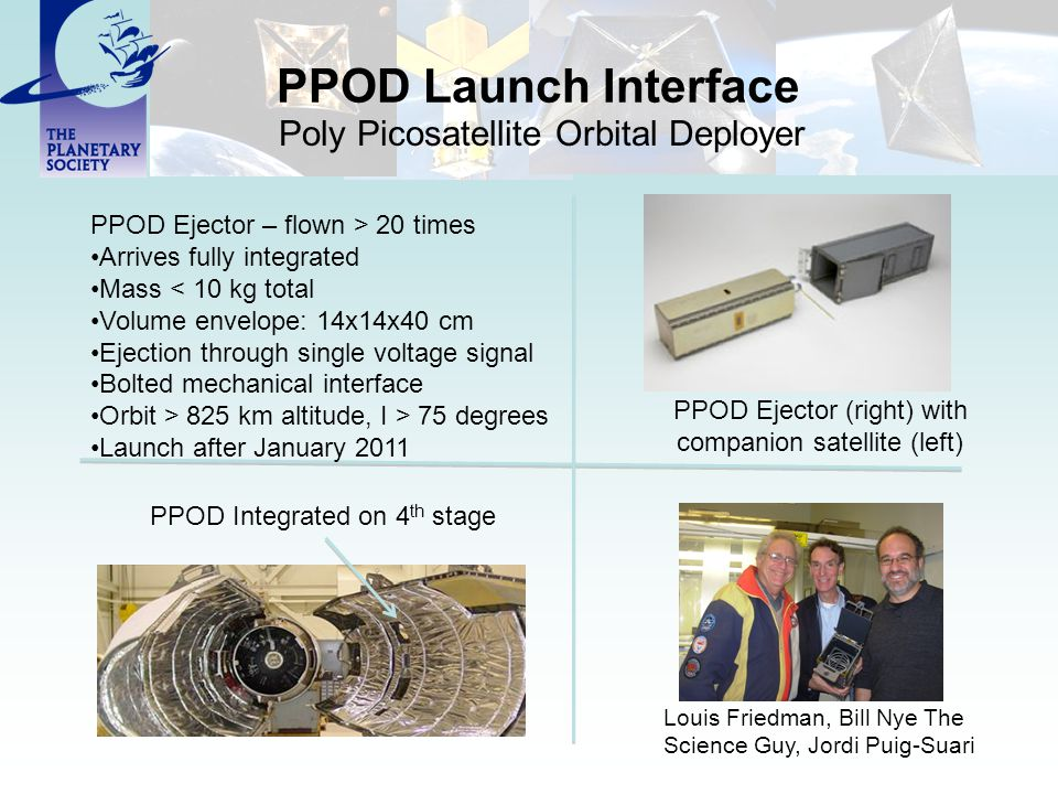 PPOD Launch Interface Poly Picosatellite Orbital Deployer