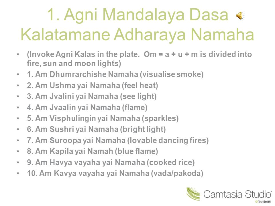 1. Agni Mandalaya Dasa Kalatamane Adharaya Namaha