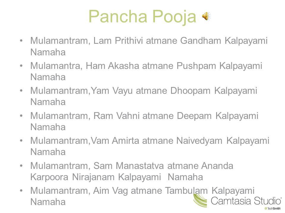 Pancha Pooja Mulamantram, Lam Prithivi atmane Gandham Kalpayami Namaha