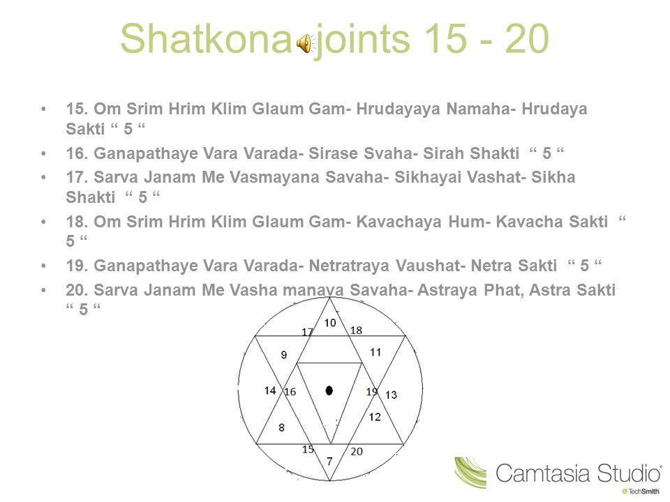 Shatkona joints 15 - 20 15. Om Srim Hrim Klim Glaum Gam- Hrudayaya Namaha- Hrudaya Sakti 5