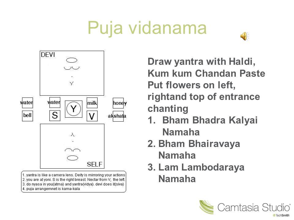Puja vidanama Draw yantra with Haldi, Kum kum Chandan Paste