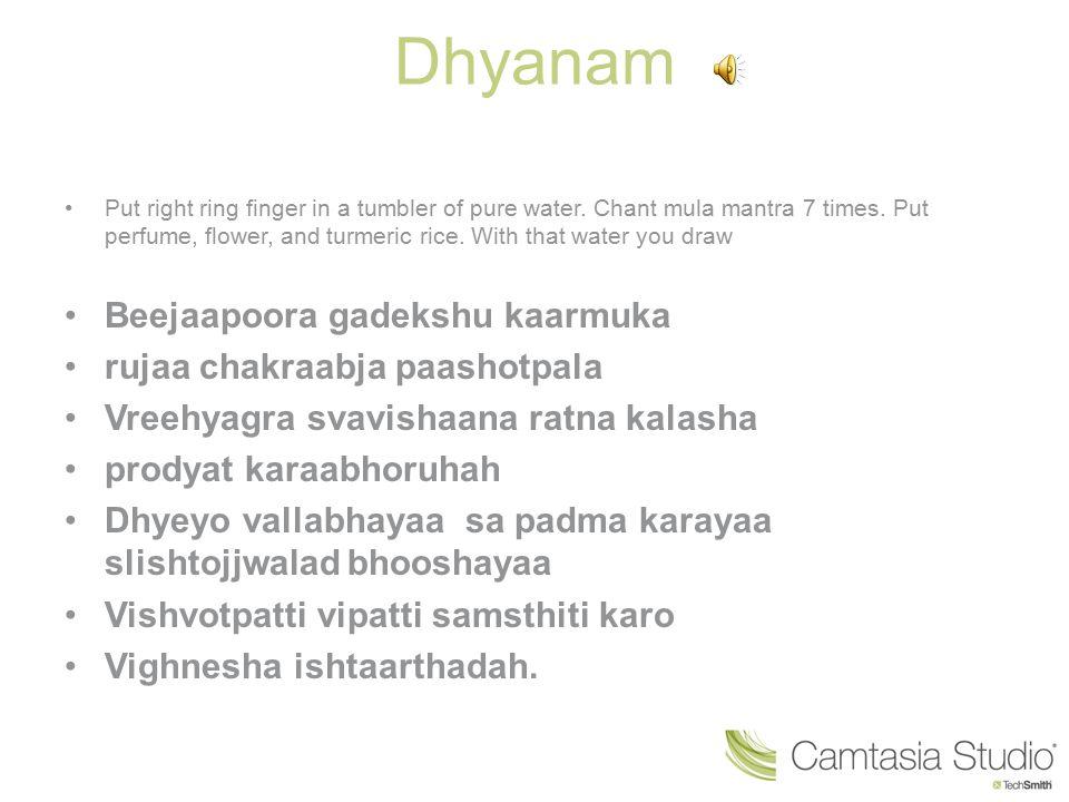 Dhyanam Beejaapoora gadekshu kaarmuka rujaa chakraabja paashotpala