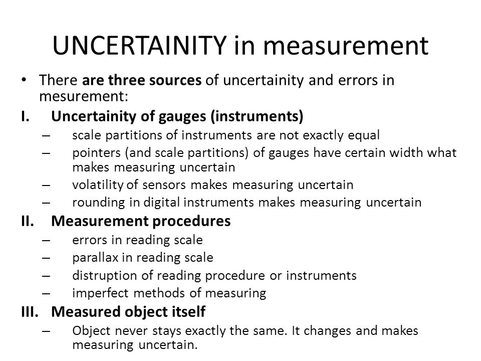 UNCERTAINITY in measurement