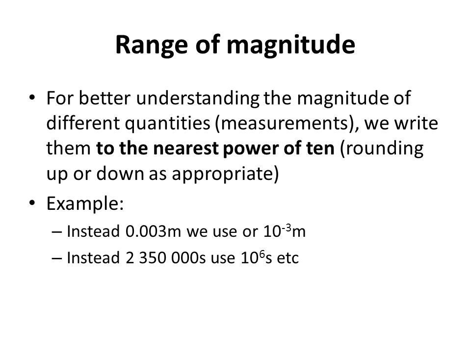 Range of magnitude